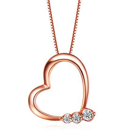 【心情】系列 玫瑰18K金钻石心形吊坠 双色可选