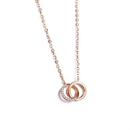 【悅己】 玫瑰18K金時尚女款鎖骨項鏈鉆石吊墜