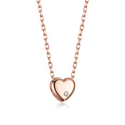 【心】 玫瑰18K金时尚钻石吊坠锁骨项链