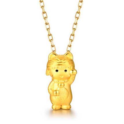 【黄金小丸子】系列 3D硬金吊坠 小丸子招财猫吊坠