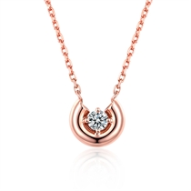 【悦己】 玫瑰18K金时尚钻石吊坠项链