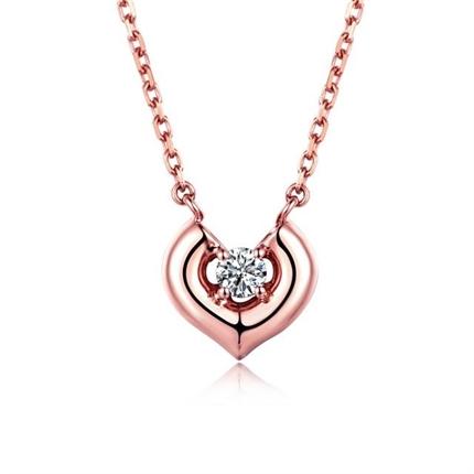 【悦己】 玫瑰18K金钻石吊坠时尚钻石项链