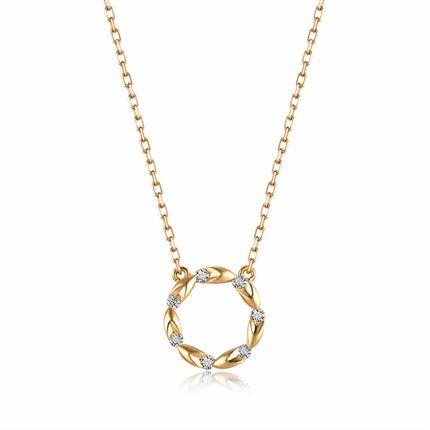 【麦穗】系列 18k金钻石吊坠女时髦钻石项链新品