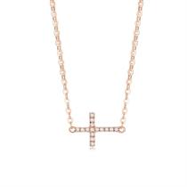 【独家印记-十字架】 玫瑰18K金钻石链牌 两色可选
