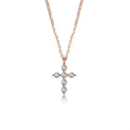 【十字架】 玫瑰18K金时尚钻石吊坠锁骨项链