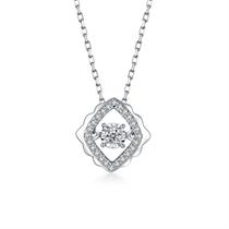 【灵动】白18k金钻石吊坠 白18K金5分/0.05克拉钻石女士