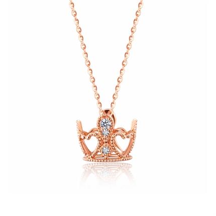 【小皇冠】 玫瑰18K金钻石皇冠吊坠