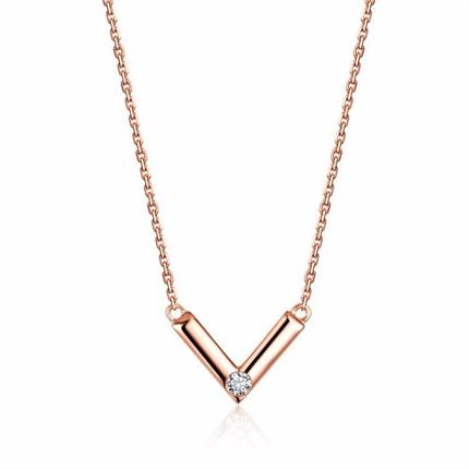 【幾何】 玫瑰金鉆石鏈牌項鏈女款時尚項墜吊墜