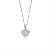 【心恋】 白18k金心形群镶钻石项链吊坠结婚锁骨链