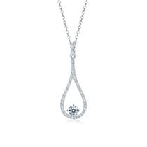 【灵动】 白18k金水滴形钻石吊坠