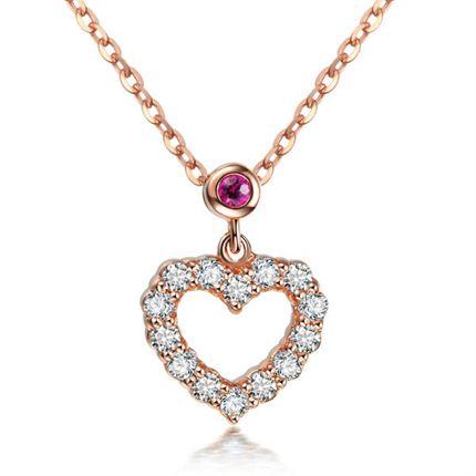 【心】系列 玫瑰18K金红宝石钻石吊坠  双色可选
