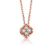 【蕊心】 玫瑰18K金钻石吊坠花形群镶钻石吊坠