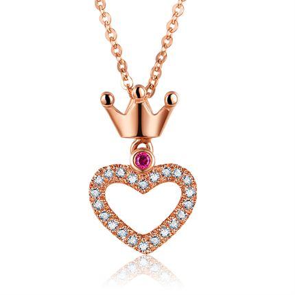 【心之女王】 玫瑰18K金红宝石钻石吊坠项链