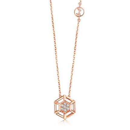 【咱们相爱吧】巢系列 玫瑰金钻石项链群镶钻石吊坠
