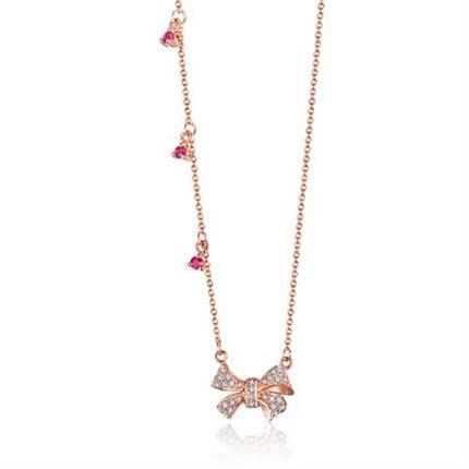 【蝴蝶结】系列 玫瑰18K金红宝石钻石链牌