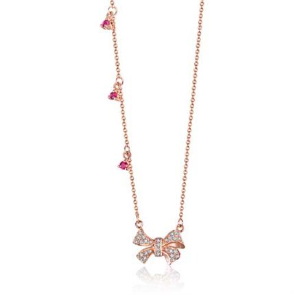 【蝴蝶結】系列 玫瑰18K金紅寶石鉆石鏈牌