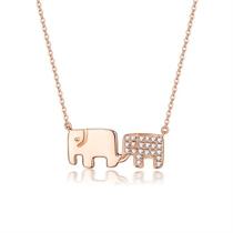 【幸运精灵-大象】 玫瑰18K金女款钻石吊坠项链