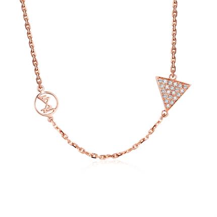 【鋒芒】 18K金玫瑰金時尚鉆石項鏈吊墜