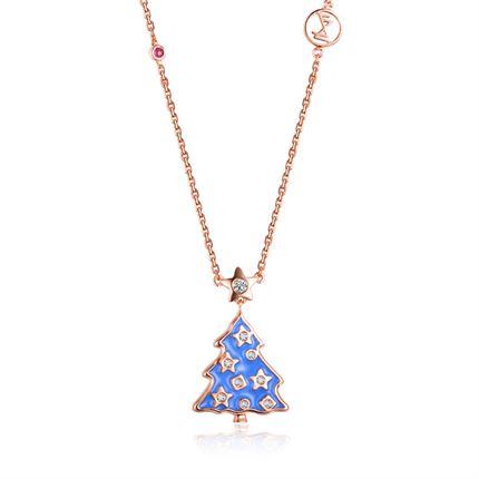 【圣诞树】系列 玫瑰18K金钻石项链吊坠项坠
