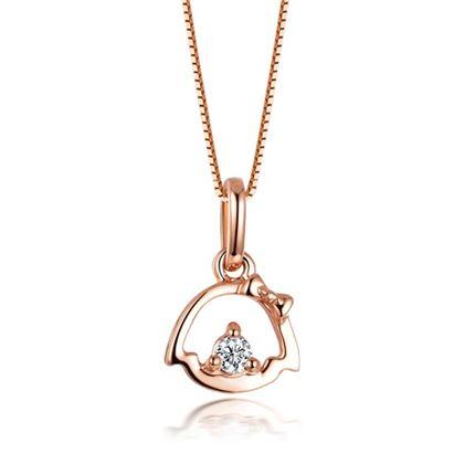 【小女孩】 玫瑰18K金钻石吊坠(迷你款)