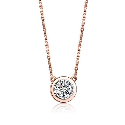 【时光里的爱】 18K金钻石项链彩金时尚吊坠
