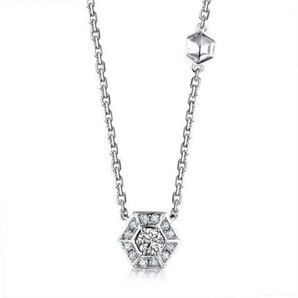 【巢】系列 18k金钻石链牌女款锁骨链(两色可选)
