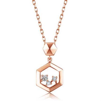 【巢】系列 玫瑰18K金钻石吊坠女款项坠