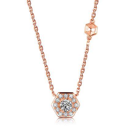 【巢】系列 18k金钻石链牌项链女款锁骨链(两色可选)