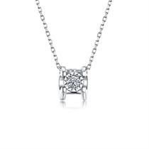 【车花】 白18k金时尚显钻钻石女士吊坠