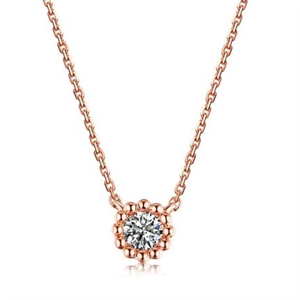 【向日葵】 玫瑰18K金时尚款钻石项链吊坠