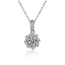 【捧花系列-太阳花】 白18k金钻石吊坠求婚项链