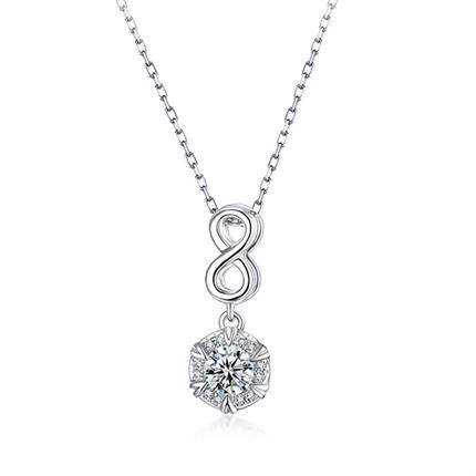 【初雪】系列 白18k金群镶显钻钻石吊坠