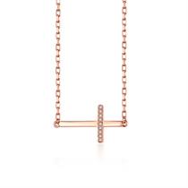 【十字架】 玫瑰18K金时尚钻石吊坠十字架项链