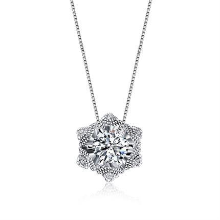 【初雪】系列 白18K金时尚女款钻石吊坠