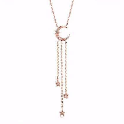 【星月】 玫瑰金女士项链