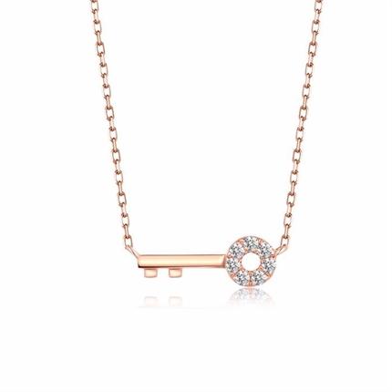 【独家印记-钥匙】 玫瑰金钥匙形钻石吊坠