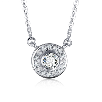 【波点】 白18K金钻石吊坠简约时尚钻石项链