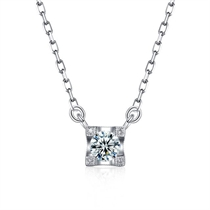 【梦幻城堡】 白18K金简约钻石吊坠
