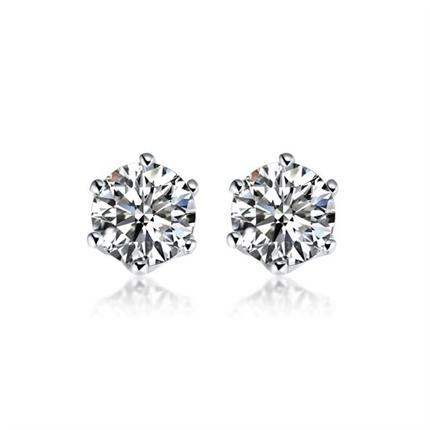 【真爱】 白18k金简约钻石女士耳钉