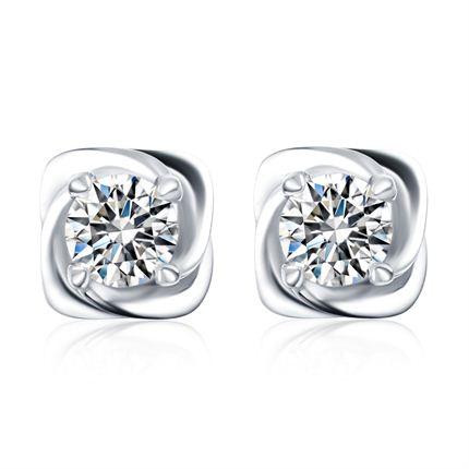 【细语】 白18K金15分/0.15克拉钻石女士耳钉