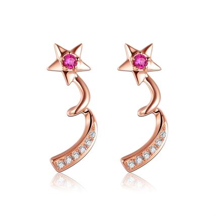 【繁星STARRY】 玫瑰18K金红宝石钻石耳环