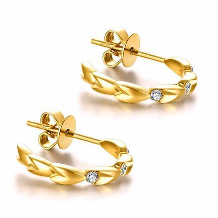【麦穗】系列 18k金钻石耳环时尚耳饰新品