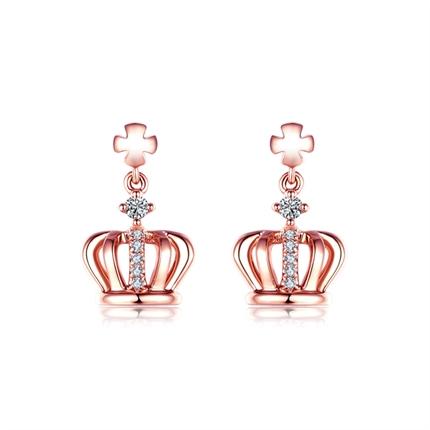 【皇冠】 玫瑰18K金皇冠钻石耳环钻石耳坠