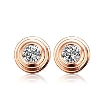 【波点】 玫瑰18K金新款简约钻石耳钉