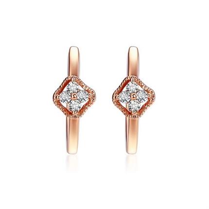 【蕊心】 玫瑰18K金鉆石耳環時尚耳墜