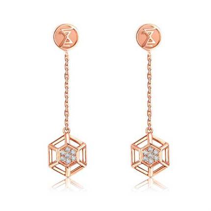 【咱们相爱吧】巢系列 玫瑰18k金钻石耳环