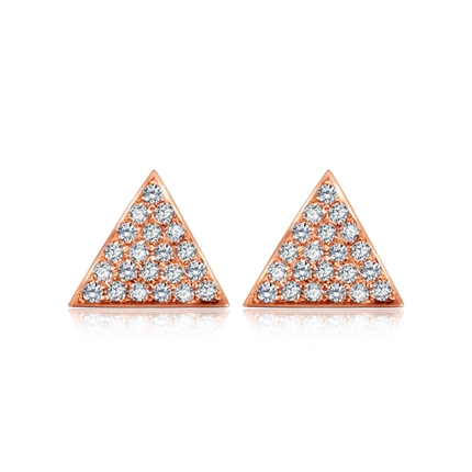 【鋒芒】 18K金玫瑰金幾何形時尚鉆石耳釘耳環