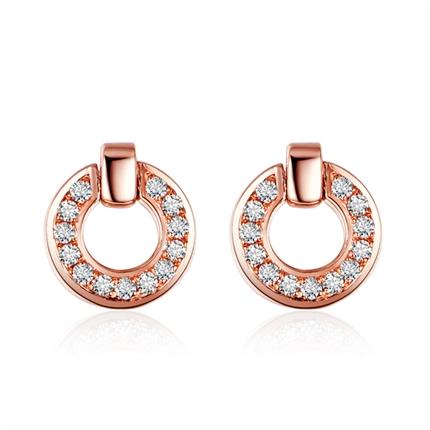 【几何】 玫瑰18K金红宝石钻石耳钉