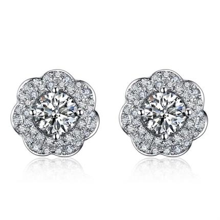 【捧花-樱花】 白18K金钻石女士耳钉