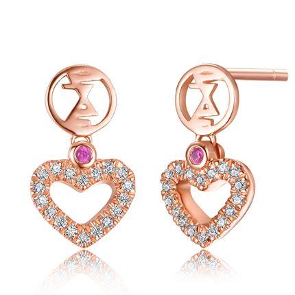 【心】系列 玫瑰金女士耳環